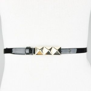 Black Gold Metallic Pyramid Studded Belt
